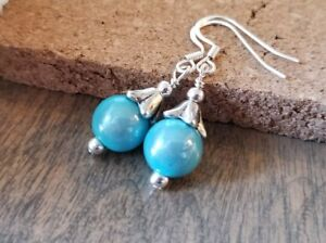 Robins-Egg-Blue-Beaded-Earrings-vintage-style-silver-simple-handmade-in-USA
