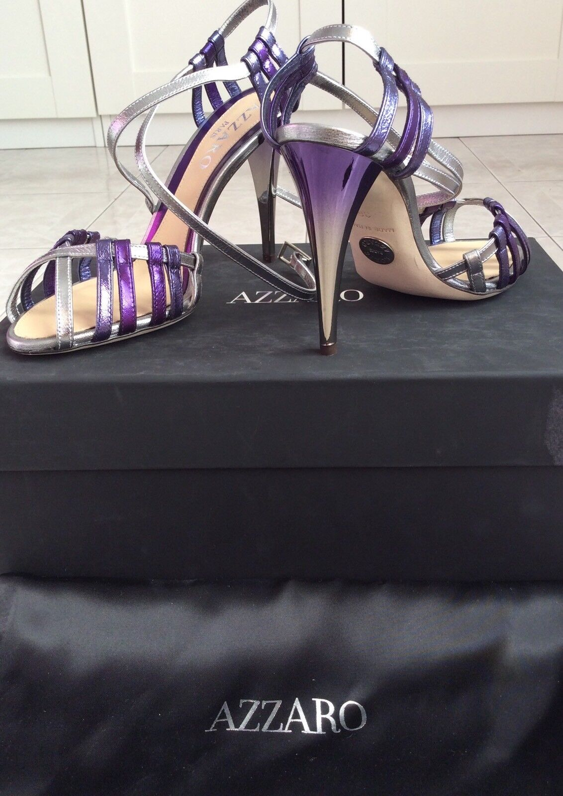 Azzaro Sandals Shoes Silver New! Violet Leather Size 36. New! Silver 1445 27e983