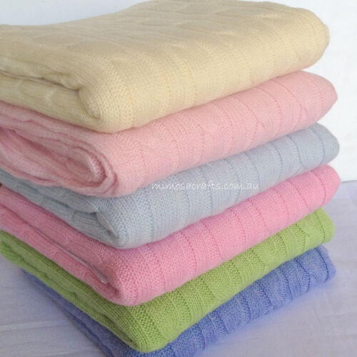 Cashmere Pashmina Cable Design Baby Blanket Knitted Warm Soft Cuddle Carry Wrap