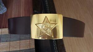 af85edabd43 similicuir ceinture ceinture couleur marron avec boucle URSS СССР ...