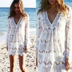 Womens-Cover-up-Lace-Swimsuit-Beachwear-Bikini-Crochet-Mini-Dress
