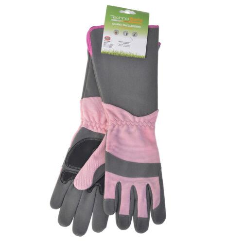 Gartenhandschuhe Technosafe lang Kunstleder Stretch grau//pink Größe 7