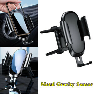 Black-Metal-Gravity-Phone-Stand-Holder-Car-Round-Air-Vent-Mount-Bracket-Clamp