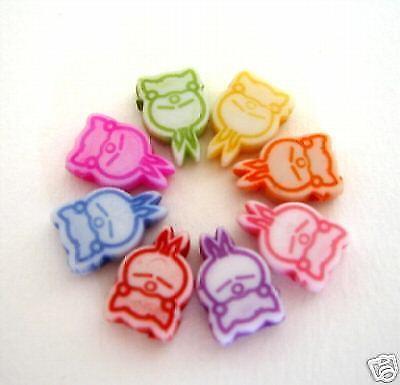 100 Sleepy Bunny Rabbit Acrylic Loose Charms Beads 12mm