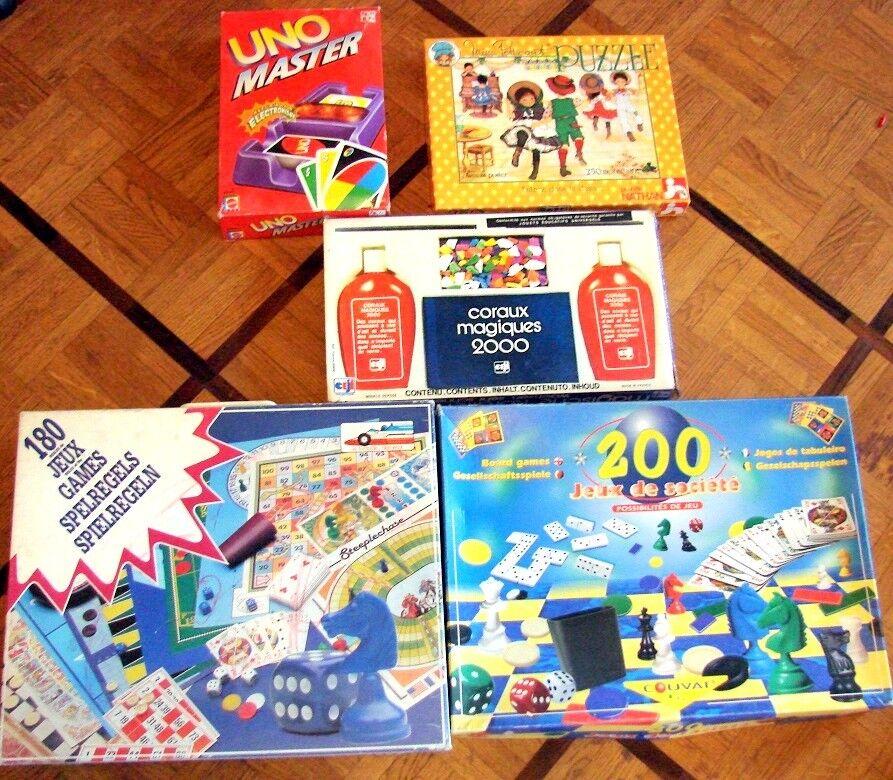 LOT 5 JEUX DE SOCIETE UNO MASTER PUZZLE MISS PETTICOAT CORAUX MAGIQUE 2000