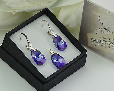 Tanzanite AB 925 Silver Earrings made with Swarovski Crystals 22mm PEAR