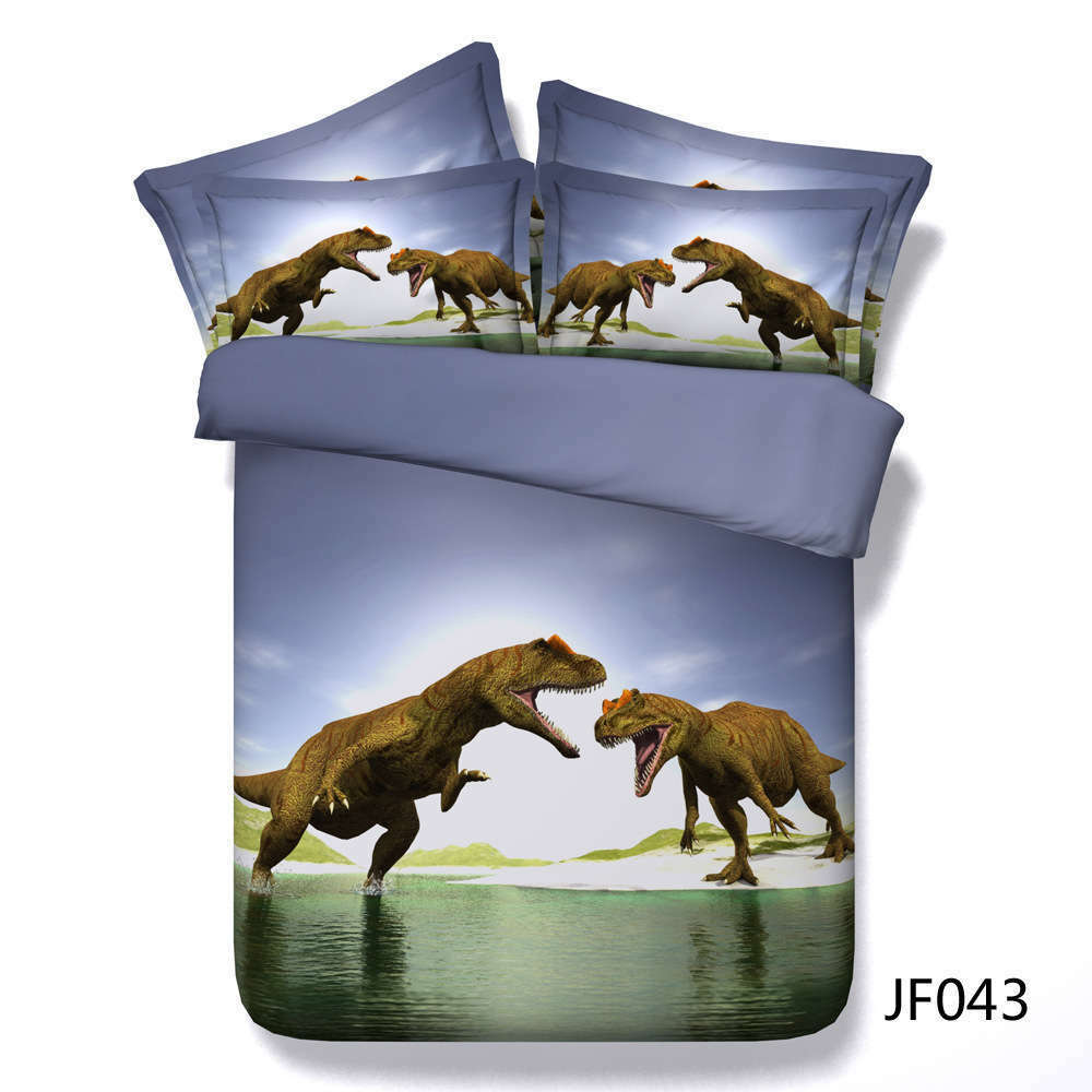 Dinosaur Fight 3D Druckening Duvet Quilt Will Startseites Pillow Case Bettding Sets