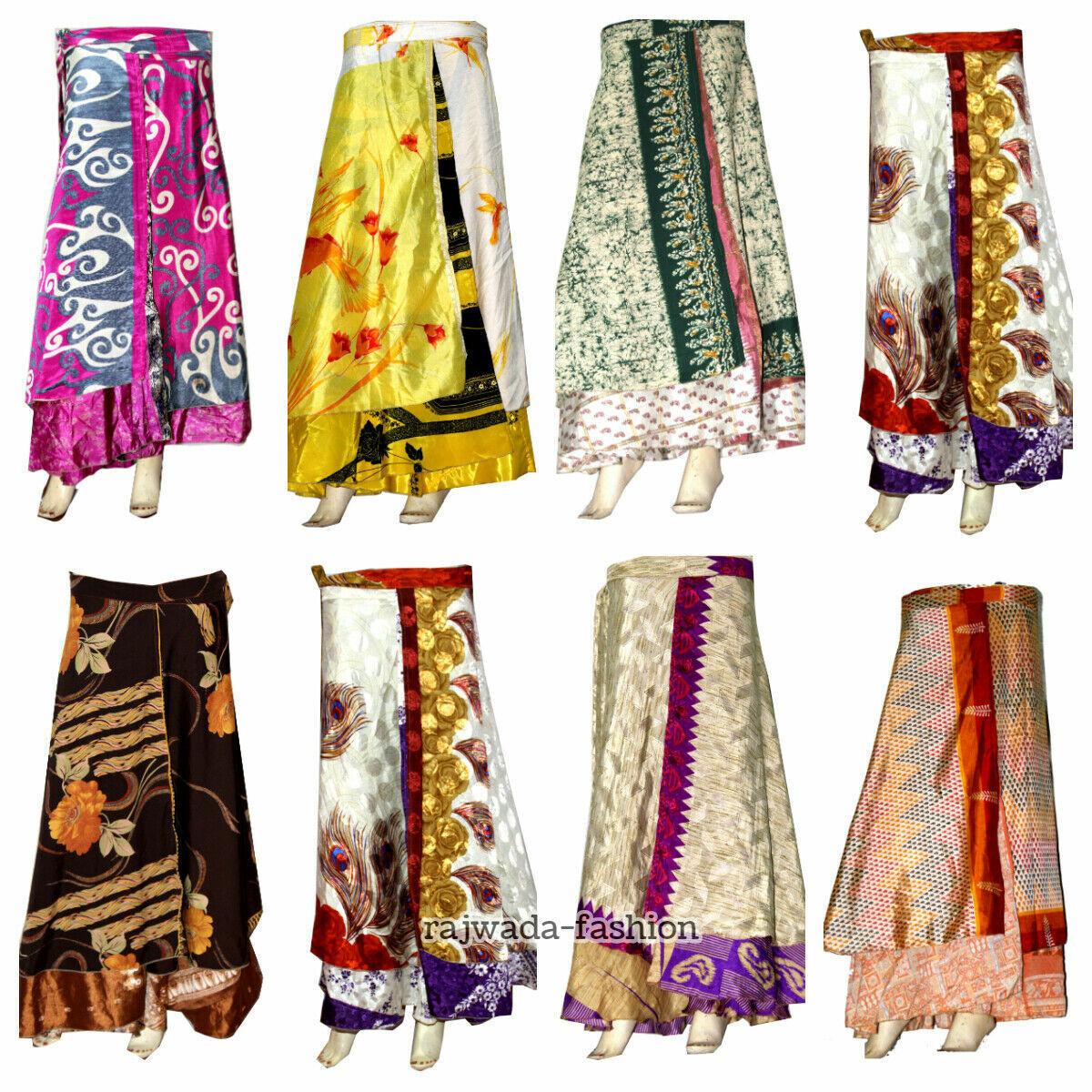 20 PC Wholesale Lot Indian Silk Skirt Women Wrap Around Rapron Silk Long Skirt