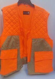 Browning-Mens-Hunting-Vest-Pockets-Expands-Bullet-Holder-Field-Nylon-Tan-Orange