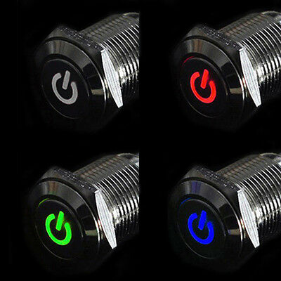 1x 16mm 12V Car Silver Aluminum LED Power Push Button Metal Switch Latching WELL