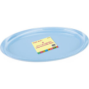 6 x Oval Plastic Blue Disposable Serving Plate Tray (12inch x 10inch ...