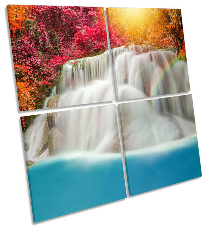 Tropical Waterfall Forest MULTI CANVAS WALL ART Square Print