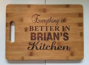"Personalized chef skull Kitchen Bamboo Cutting Board Christmas Birthday 13 3//4/"""
