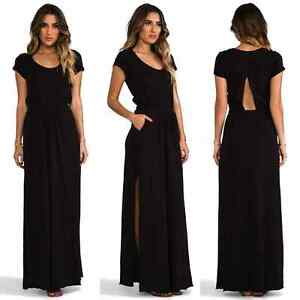 7692b924dc0 Details about FREE PEOPLE FP Beach Andrina s Long CUT OUT High Slit POCKETS Maxi  Dress S