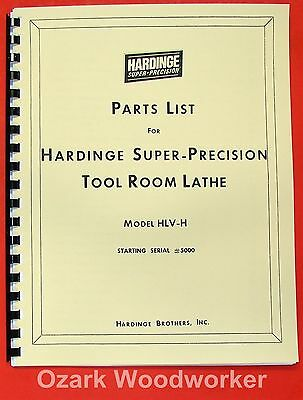 HARDINGE DV59 DSM59 DSM59R VBS VBSR Metal Lathes Parts Manual /'87 1231