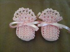 Handmade Hand Crocheted Baby Girl Booties  Pink 0-3 months