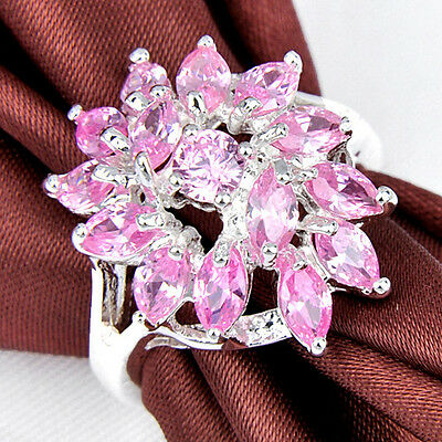 Gorgeous Natural Shiny Sweet Pink Topaz Multi Gems Silver Lady Rings Size 7 8 9
