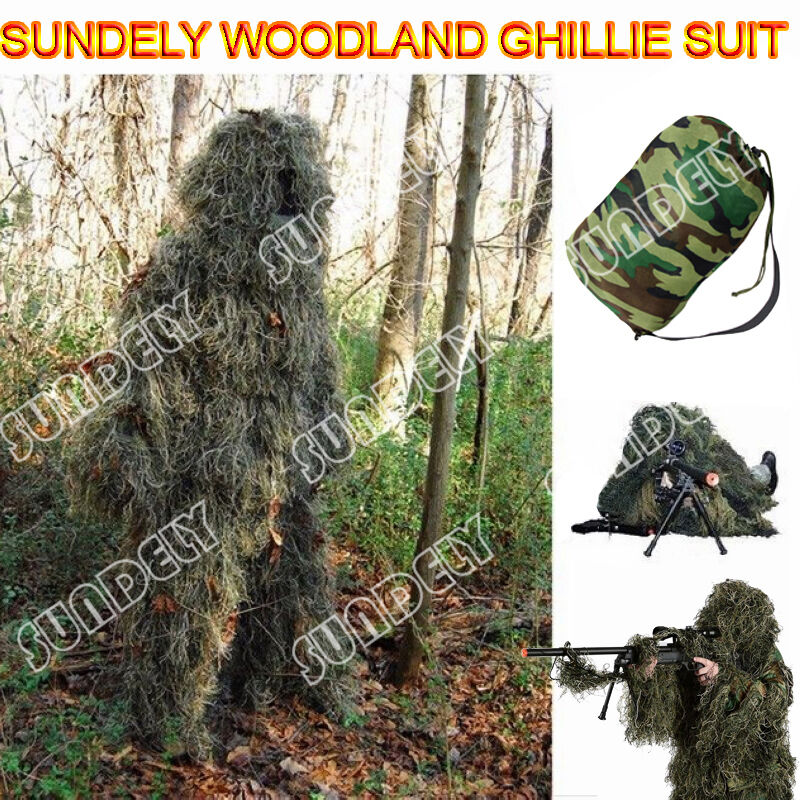 New Ghillie Suit 5pcs Woodland Camouflage Hunting Archery Sniper Clothing