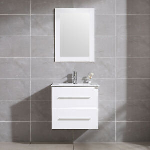 Details About 24 Bathroom Vanity Sink Set Wall Mount Floating Cabinet Mirror Faucet White