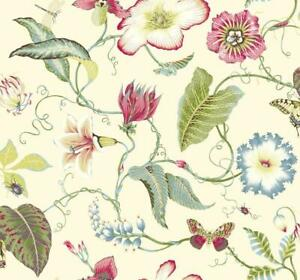 Wallpaper-Bright-Tropical-Flowers-Large-Floral-on-Cream-Background