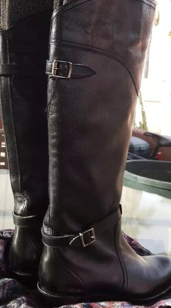 Frye Dorado montar a caballo Negro de Cuero Suave Negro caballo botas Hasta La Rodilla tirar de ship@BIN 6.0 libre 32a2e2