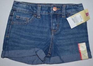 New-Girls-Cherokee-Keys-Wash-Blue-Stretch-Denim-Jean-Shorts-XS-4-5-adjustable