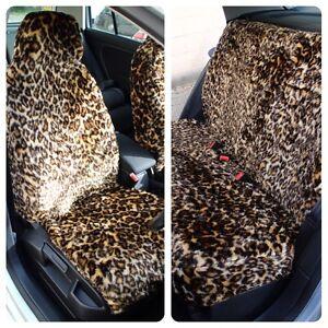 Image Is Loading Full Set Of Furry Leopard Print Car Seat