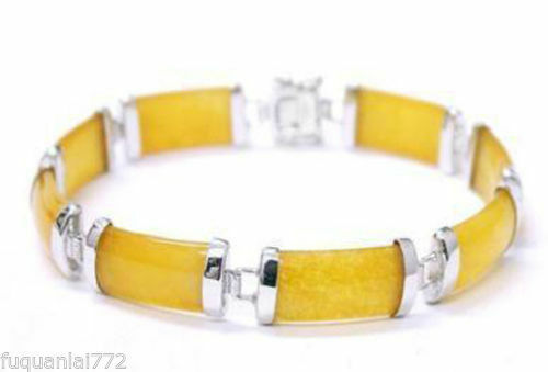 NATURAL EMERALD Jaune Jade /& Fortune Chance Lien Bracelet 18KGP AAA
