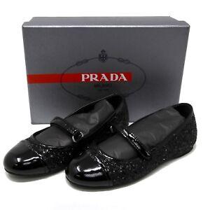 Prada Kids Slip On Glitter Ballet Shoes