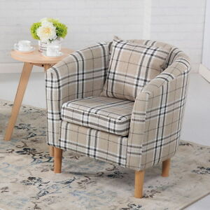 Good Image Is Loading DELUXE TARTAN FABRIC TUB CHAIR ARMCHAIR DINING LIVING