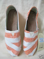 Toms Classic Coral And White Stripes In Size 7