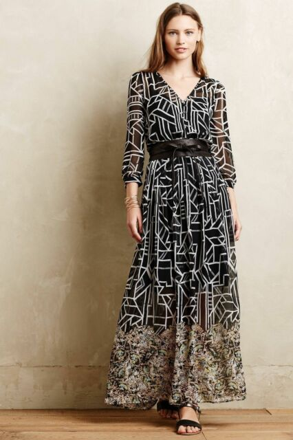 New Anthropologie Equinox Pleated Maxi Dress By Moulinette Soeurs