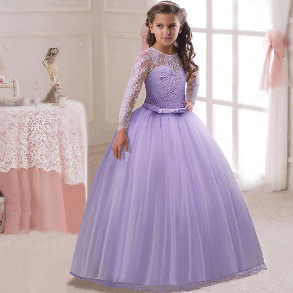 US STOCK Flower Girl Dress Gown Wedding Bridesmaid Graduation Pageant O125