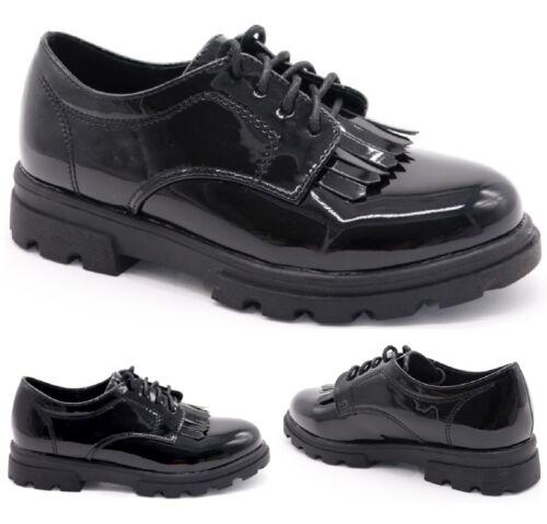 Neuf Enfants Filles Plates à Lacets Noir Back To School laofers Tassel Chaussures Taille 7-3