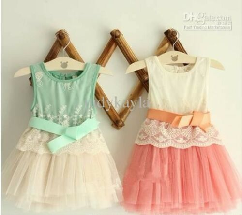 Summer Fashion Flower Green Color Girl/'s Baby dress Lace Girl/'s dresses