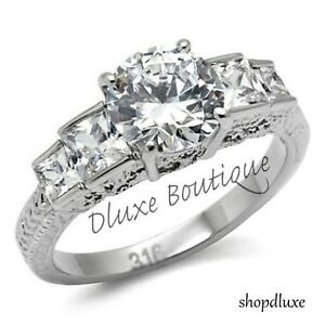 Beautiful-Round-Cut-Stainless-Steel-AAA-CZ-Engagement-Ring-Band-Women-039-s-Sz-5-10