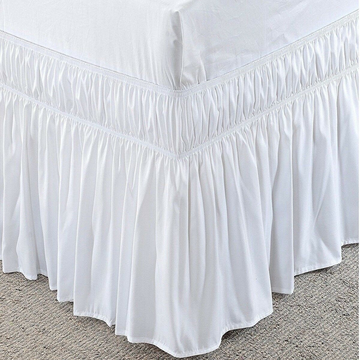 Wrap Around 800 TC Cotton Ruffle Bed Skirt Solid White All Size Drop Length New