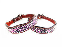 18 Pink Gator Austrian Crystals Western Style Leather Silver Canine Dog Collar