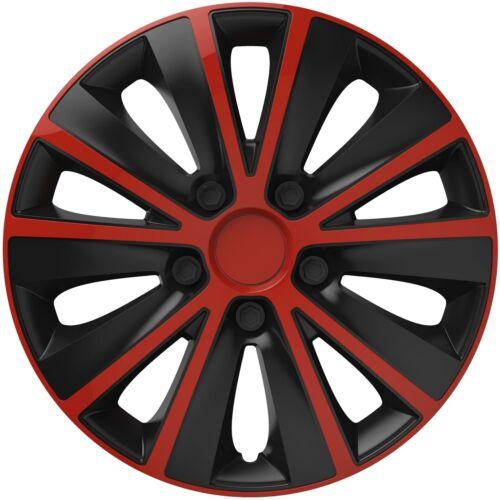 """4 X 16/"""" Alliage Look Rouge /& Noir À Rayures Multi-parle Enjoliveurs HUB Caps Covers"""