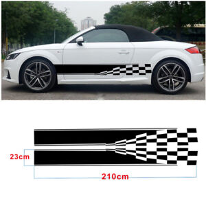 Good Automobile 2x Checkered Flag Auto Graphic Decal Vinyl Car Truck Mini Body Racing Stripe Sticker one For Each Side
