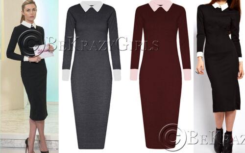 UK Womens Contrast Peter Pan Collar Cuff Long Sleeve Calf Length Midi Dress 8-22