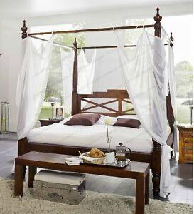 Luxus himmelbett  Traumhaftes Luxus Himmelbett aus massiven Akazien Holz Bett mit ...