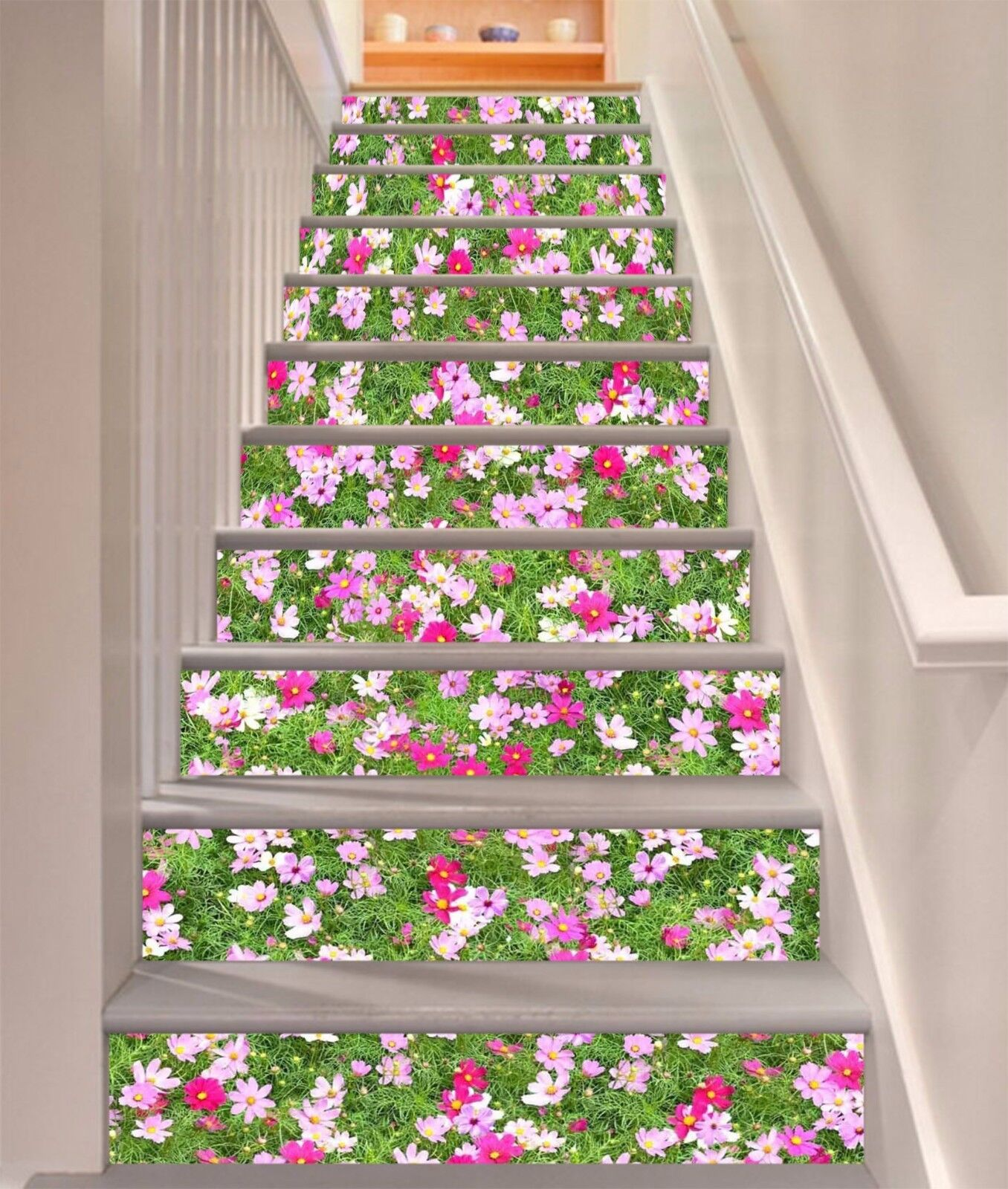 3D Grass Flowers 3 Stairs Risers Decoration Photo Mural Vinyl Decal Wallpaper US