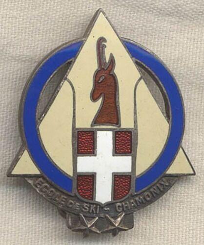 Beautifully Enameled 1930s Ecole de Ski Chamonix (Ski School) Badge