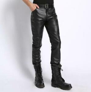 New Fashion Men/'s Shiny PU Leather Motorcycle Pants Stretch Skinny Trousers Punk