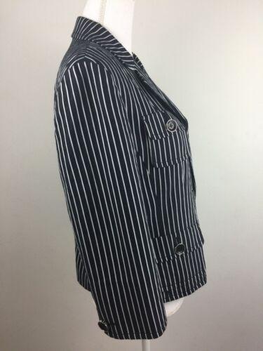 en rayé 14 coton Veste pour Carlisle 16 femmes blanc et Uk Manteau Nous noir taille HqB5tSS