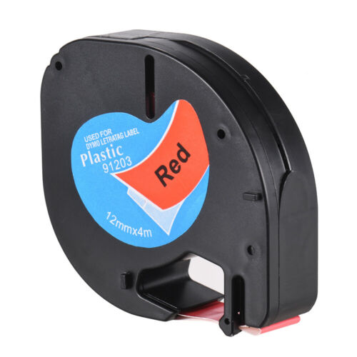 Beschriftungsbänder 12mm x4m Kunststoff schwarz auf rot Dymo Band Letra Tag