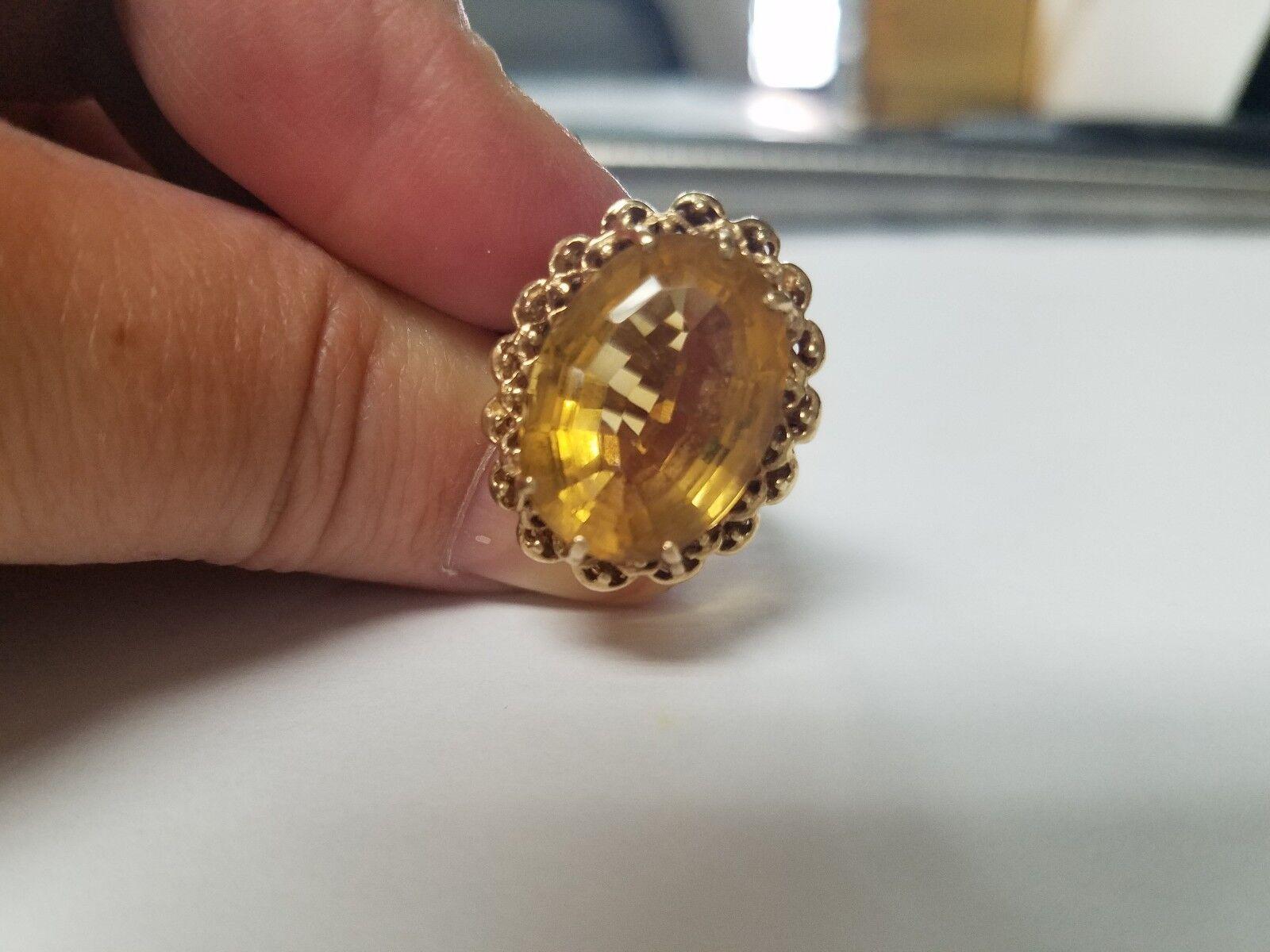 8b377582c4403 14.20ct European Antique Citrine Ring gold Yellow 10k xqwt492121380 ...