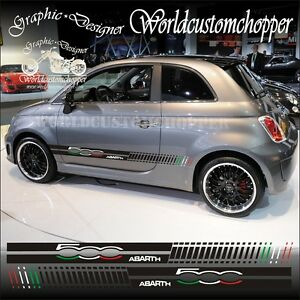 Details About Kit Fasce Adesive Fiat 500 Abarth Tricolore Auto Tuning