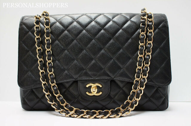 $5300 CLASSIC CHANEL BLACK / GOLD HARDWARE CAVIAR LEATHER MAXI FLAP BAG